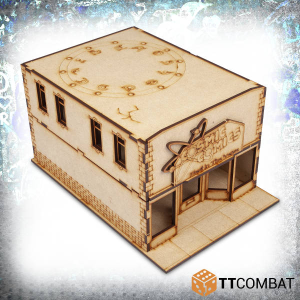 28mm scale mdf building kit of a comic shop for miniature gaming