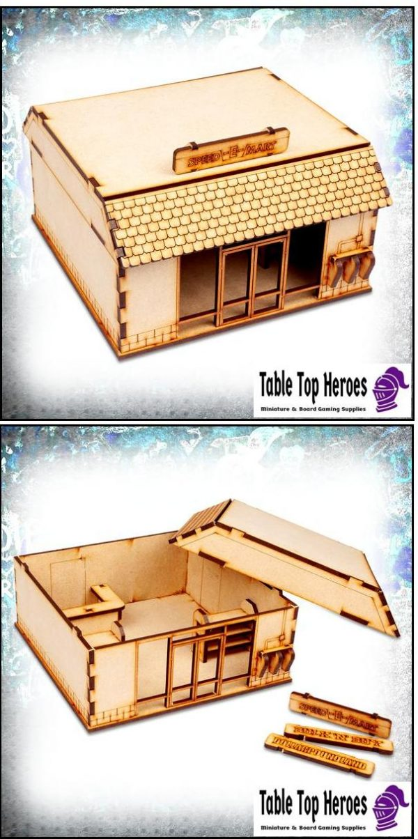 28mm scale mdf mini mart building for use in war games