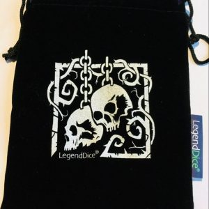 black dice bag with silver skull design