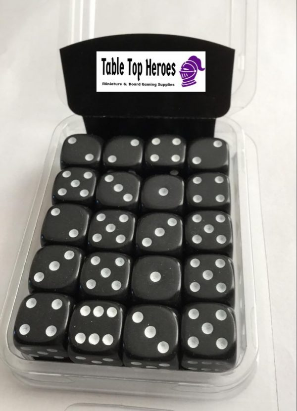 pack of six sided black dice d6
