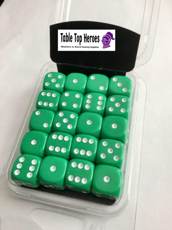 pack of six sided dice green d6