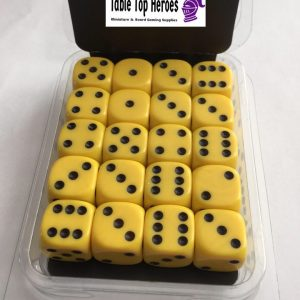 pack of yellow six sided dice d6