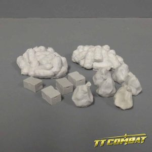 resin cast 28mm rubbish bags and boxes for 28mm scale war gaming or miniatures gaming