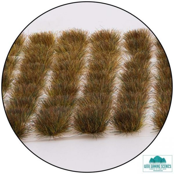 self adhesive scenic tufts that are brown like dead grass clumps