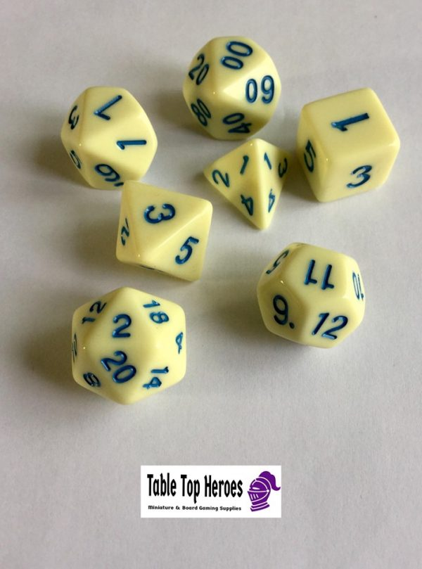 set of seven polyhedral role playing dice eggshell white and blue