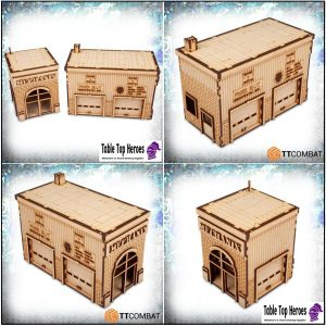28mm scale mdf building set of a mechanics garage for miniature gaming table scenery