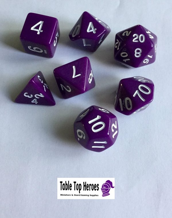 set of seven purple polyhedral dice for role playing