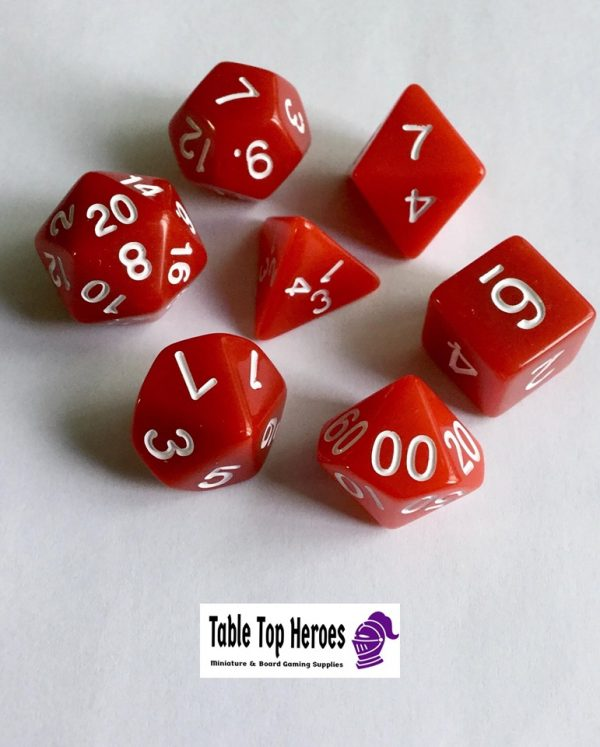 set of seven polyhedral red dice for role playing games