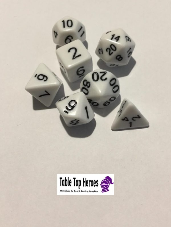 set of seven white polyhedral dice for role playing games