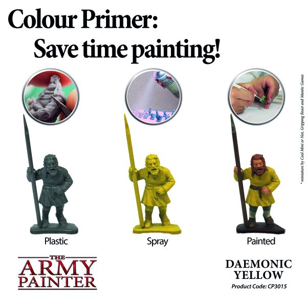 Example of using daemonic yellow primer spray