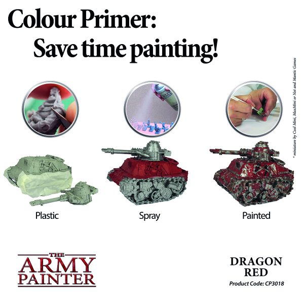 Example of dragon red primer spray being used