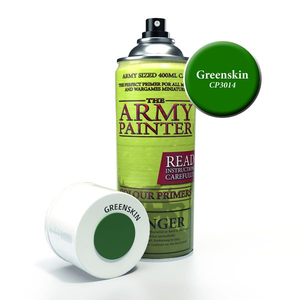 Can of green skin colour primer spray