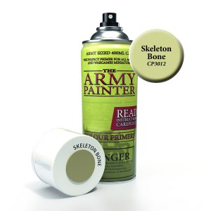 Can of skeleton bone coloured primer spray