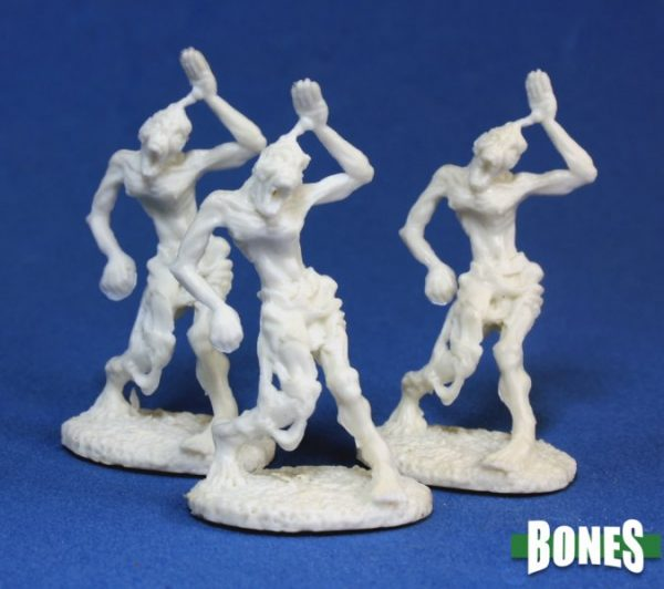 Pack of three unpainted zombies