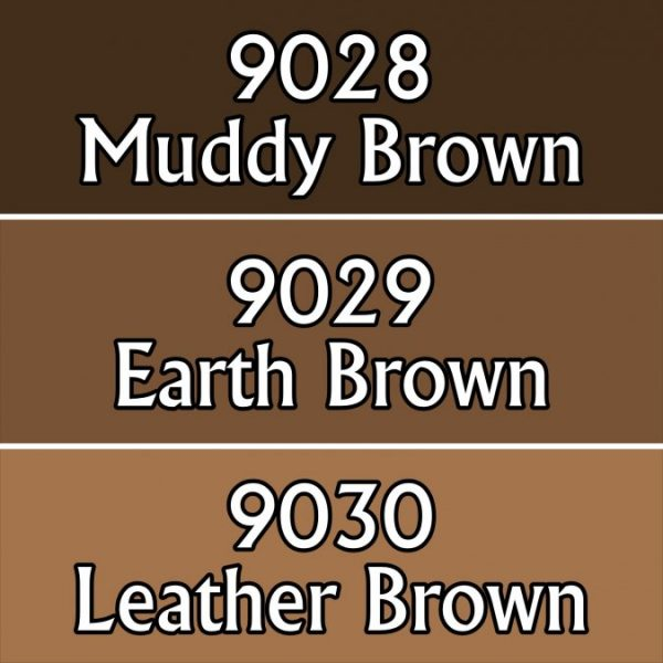 Three shades of brown paint