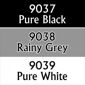 set of three neutral colour paints black white and grey