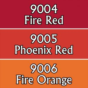 red fire coloured paints