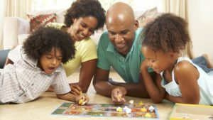 Family playing games together