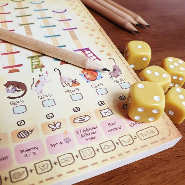 dice pencils and score pad in game box