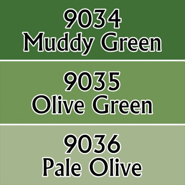 Three shades of olive green colours
