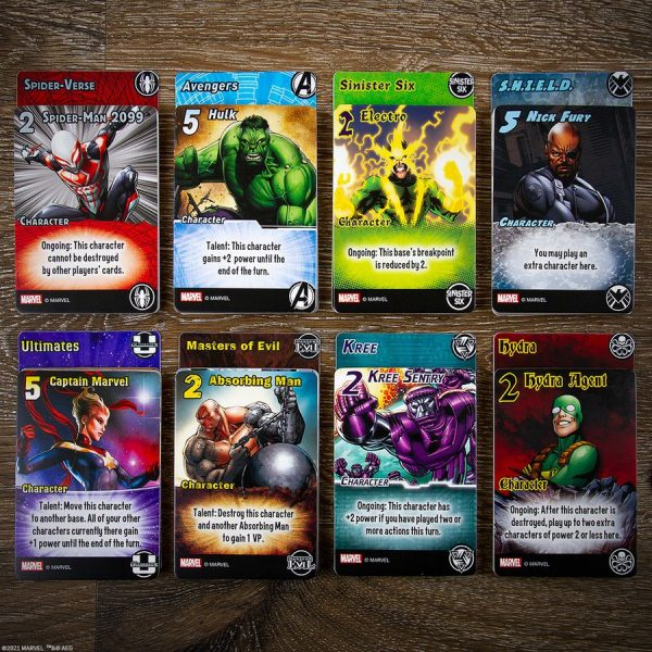 some cards from marvel smash up